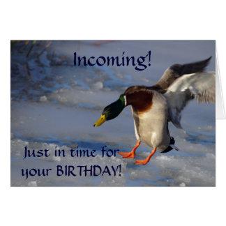 Tarjeta de cumpleaños del saludo del pato del pato