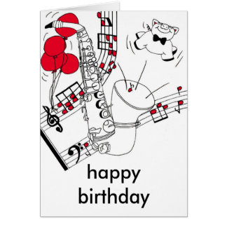 Tarjeta de cumpleaños del saxofón