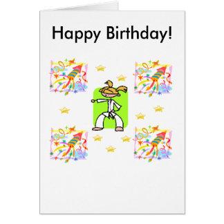 Tarjeta de cumpleaños del Taekwondo - chicas