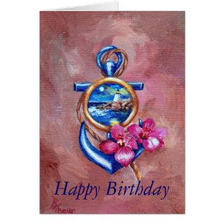 Tarjeta de cumpleaños del tatuaje del ancla
