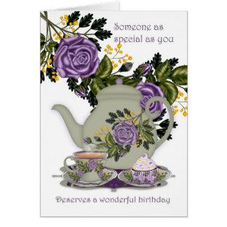 Tarjeta de cumpleaños del té y de la magdalena par