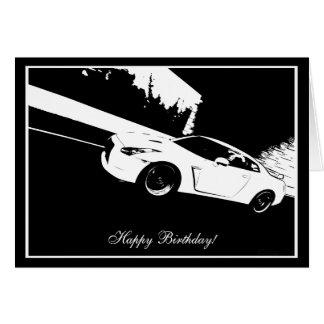 Tarjeta de cumpleaños del tema del coche del tiro