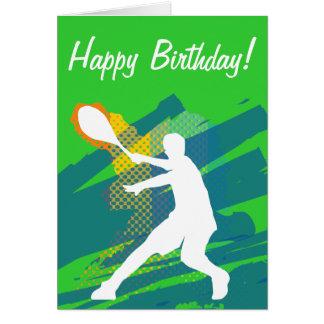 Tarjeta de cumpleaños del tenis con la silueta del