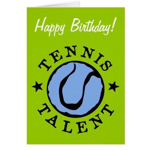 Tarjeta de cumpleaños del tenis para los niños