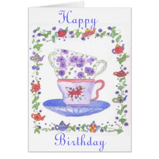 Tarjeta de cumpleaños del tiempo del té de la pila