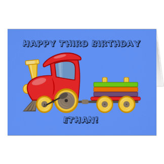 Tarjeta de cumpleaños del tren del niño personaliz