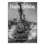 Tarjeta de cumpleaños del tren del vapor