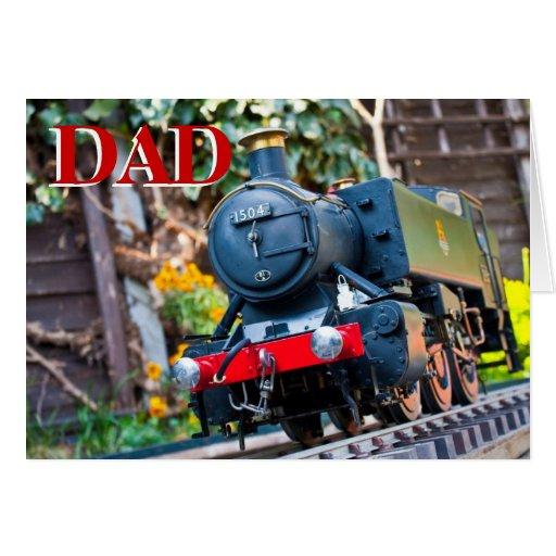 Tarjeta de cumpleaños del tren del vapor del PAPÁ