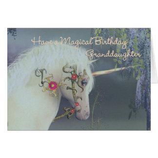 Tarjeta de cumpleaños del unicornio de la nieta Bi