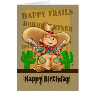 Tarjeta de cumpleaños del vaquero - cumpleaños de