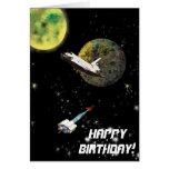 Tarjeta de cumpleaños del vehículo espacial