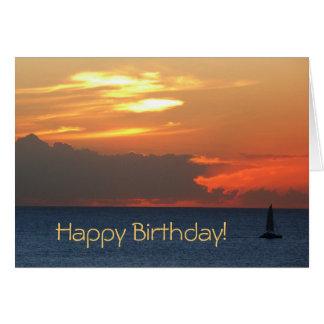 Tarjeta de cumpleaños del velero de la puesta del