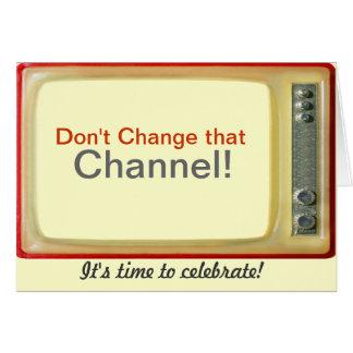 Tarjeta de cumpleaños del vintage TV