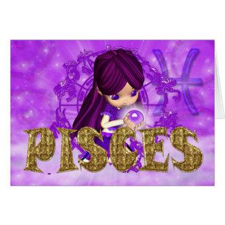 Tarjeta de cumpleaños del zodiaco de Piscis con lo