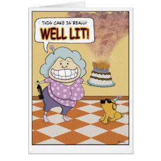 Tarjeta de cumpleaños divertida: Bien iluminado