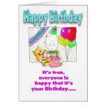Tarjeta de cumpleaños divertida con el cake_