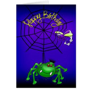 Tarjeta de cumpleaños divertida de la araña