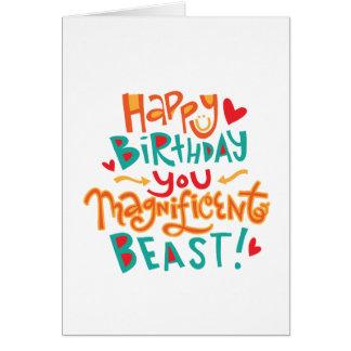 Tarjeta de cumpleaños divertida de la bestia