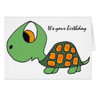 Tarjeta de cumpleaños divertida de la tortuga AB