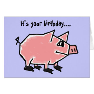 Tarjeta de cumpleaños divertida del cerdo CW