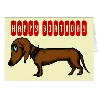 Tarjeta de cumpleaños divertida del dachshund