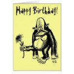 Tarjeta de cumpleaños divertida del mono