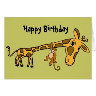 Tarjeta de cumpleaños divertida del mono BL y de
