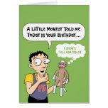 Tarjeta de cumpleaños divertida del mono del calce