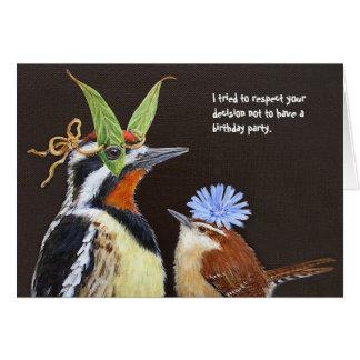 Tarjeta de cumpleaños divertida del pájaro con el