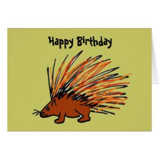 Tarjeta de cumpleaños divertida del puerco espín