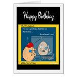 Tarjeta de cumpleaños divertida - egg en el dibujo