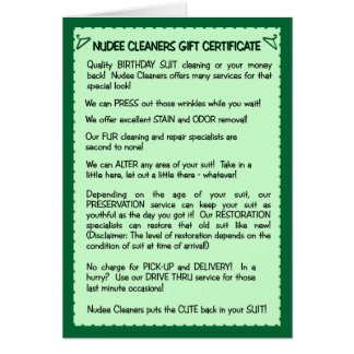 Tarjeta de cumpleaños divertida:  Limpieza del jue