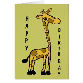 Tarjeta de cumpleaños divertida linda de la jirafa