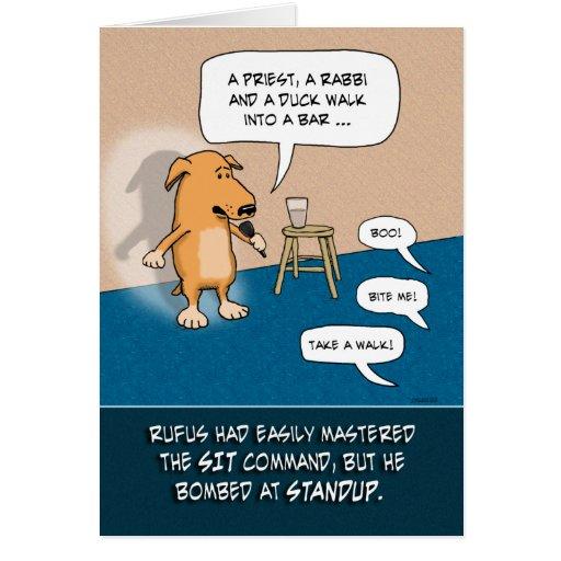 Tarjeta de cumpleaños divertida: Perro de pie