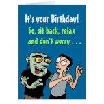 Tarjeta de cumpleaños divertida: Plan del zombi