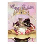 Tarjeta de cumpleaños - dragón que chupa el pájaro