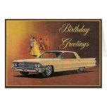 Tarjeta de cumpleaños elegante de Cadillac del oro