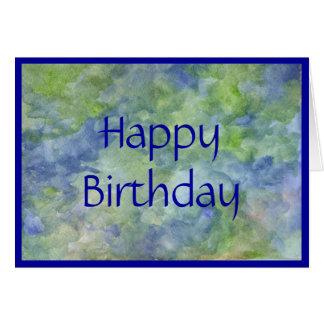 Tarjeta de cumpleaños en azules y verdes