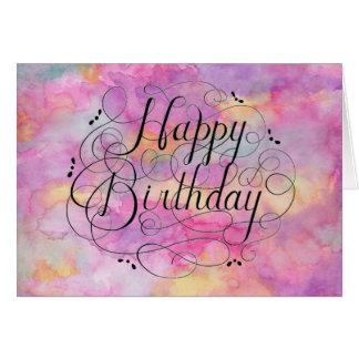Tarjeta de cumpleaños en colores pastel hermosa de