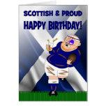Tarjeta de cumpleaños escocesa y orgullosa del rug