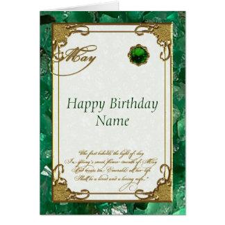 Tarjeta de cumpleaños esmeralda de mayo Birthstone