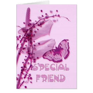Tarjeta de cumpleaños especial del amigo, rosada c