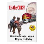 Tarjeta de cumpleaños estupenda del tren de Santa