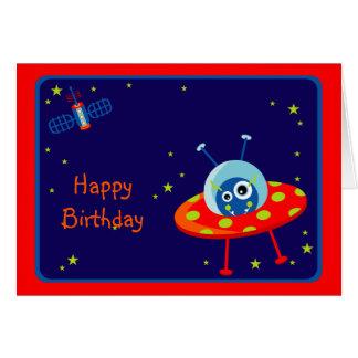 Tarjeta de cumpleaños extranjera de la nave espaci