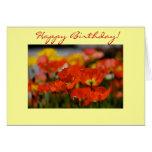 Tarjeta de cumpleaños feliz de la amapola