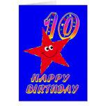 Tarjeta de cumpleaños feliz de la estrella roja 10
