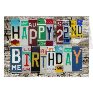 Tarjeta de cumpleaños feliz de las placas 22da