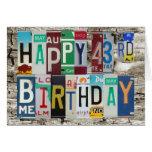 Tarjeta de cumpleaños feliz de las placas 43.a