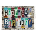 Tarjeta de cumpleaños feliz de las placas 50.a