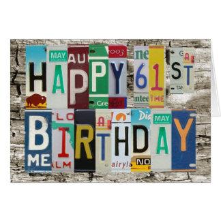 Tarjeta de cumpleaños feliz de las placas 61.a